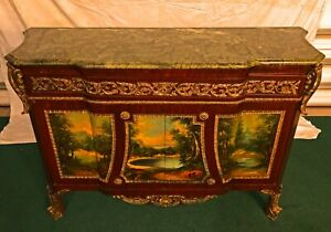 Majestic French Empire Style Painting Marble Top Cabinet Commode