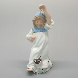Antique Heubach German Bisque Figurine Girl With Cat