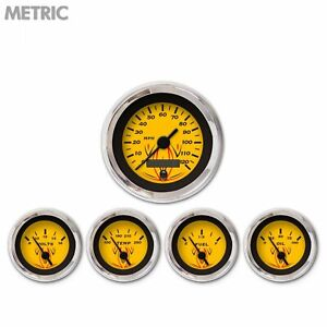 5 Ga Set Metric Pinstripe Yellow Black Vintage Nedl Chrom Trm Rngs Kit Diy