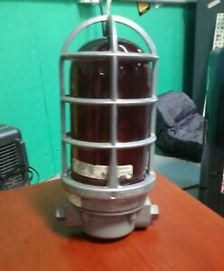 Vintage Explosion Proof Light Cage With Red Bulb