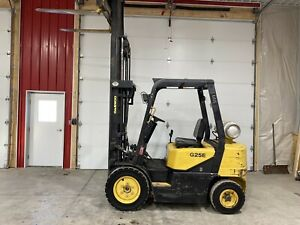 Daewoo G25e 5000lb Pneumatic Forklift Lpg Lift Truck Side Shift Three Stage Mass