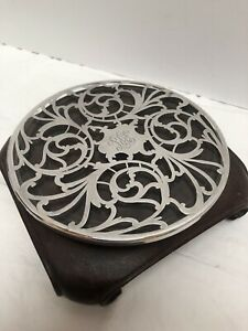 Antique Perfume Sterling Silver Overlay Glass Coaster Trivet Display 5 3 4