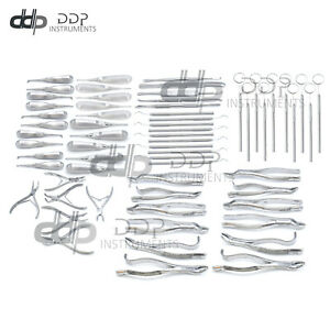 Set Of 71 Pieces Dental Oral Extraction Surgery Set Tooth Forceps Elevator Kit