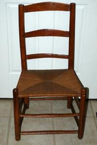 Antique Shaker Ladder Back Chair Rush Seat 1800s 1900s
