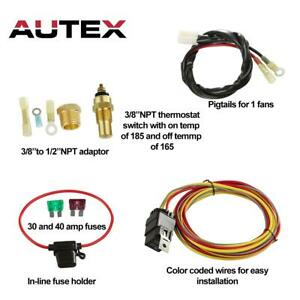 185 Degree Engine Cooling Fan Thermostat Temp Switch Sensor 50 Amp Relay Kit