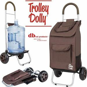 Dbest Products Trolley Dolly Brown Shopping Grocery Foldable Portable Cart