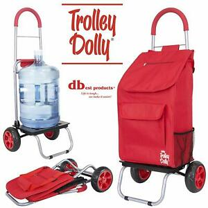 Dbest Products Trolley Dolly Red Shopping Grocery Foldable Portable Cart