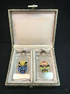 Set Of 2 Reverse Painted Chinese Snuff Bottles Colorful Masks Original Box