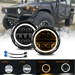 2x 7inch Round Led Headlights Halo Drl Angel Eyes For Hummer H1 H2 2003 2009