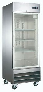 New Single Glass Door Stainless Commercial Refrigerator Cooler Nsf Reach in