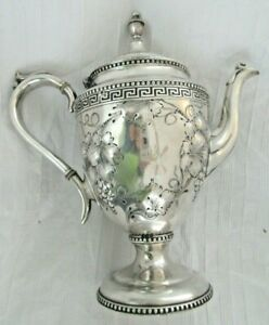 Antique Victorian Silver Plate Embossed Chased Repousse Coffee Tea Pot Grapevine