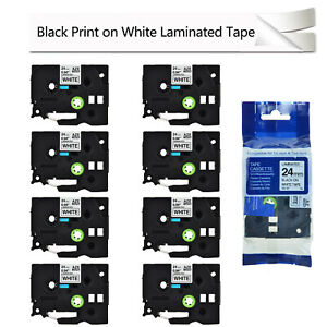 8pk Black On White Label Tape Tze251 Tz251 For Brother P touch Pt 580c 1