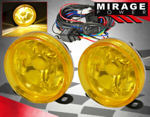Universal 3 5 Circle Bumper Driving Fog Lights Lamps Yellow Lens Wiring Harness