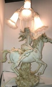 Vintage Art Deco Style Table Lamp Lady On A Horse