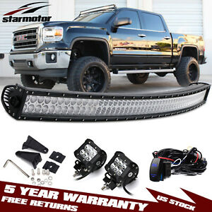 54 Curved Led Light Bar 4 Pods Offroad For 99 06 Chevy Silverado gmc Sierra
