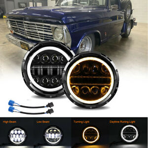 Pair Dot 7 Round Led Headlight Halo For Ford F 100 F 250 F 350 Pikcup 1969 1974