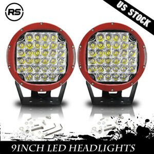 2x 9inch 96w Red Led Work Lights Combo Driving Headlamp Offroad Truck 4wd Round