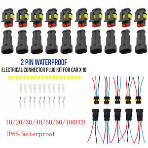 2pin Way Car Waterproof Male Female Electrical Connector Plug Wire Kits Set Tool