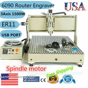 6090 Usb 3axis Cnc Router Engraver Machine Drilling Milling Woodworking 1500w