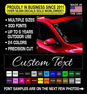 Custom Windshield Decal Sticker Car Side Vinyl Banner 7 Script Jdm Kdm Vertical