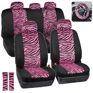 Hot Pink Black Zebra Animal Print Full Seat Cover Set Fits Car Truck Van 12 Pc