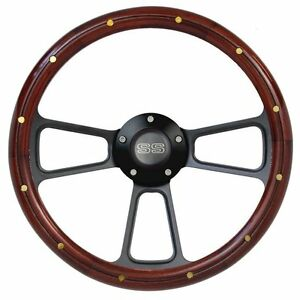 14 Mahogany Wood Steering Wheel W Black Ss Horn For Any Chevy Car Or Truck