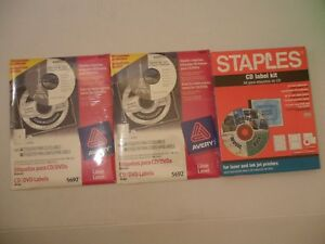 Lot Of 3 Staples avery Cd Label Kit For Laser And Ink Jet Printers 5692