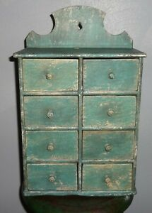 Antique 8 Drawer Spice Cabinet Box Cupboard Apothecary Chest Blue Painted