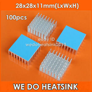 100pcs Aluminum Heatsink 28x28x11mm With Thermal Pads Cooling Cooler For Ic