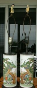 Pair Of Tall Vintage Japanese Porcelain Peacock Lamps Vases With Mudman Finials