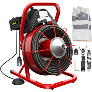 370w Drain Cleaner 75ft X 1 2in Solid core Drain Cleaning Cable W Cutters
