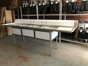 New 3 Compartment Commercial Restaurant Sink Nsf 120 Long Double Drain Boards