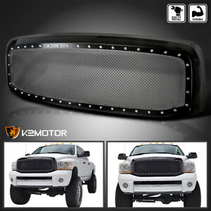 2006 2008 Dodge Ram 1500 2500 3500 Black Rivet Style Ss Wire Mesh Grille shell