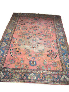Antique Wool Rug Or Carpet Large Size 9 3 By 12 1 Distressed