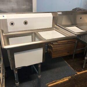 New Stainless One Bowl Sink With Drain Board Vegetable Meat Sink Nsf