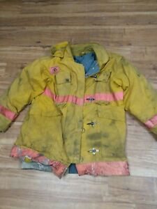 Firefighter Jacket Turnout 1990 s Morning Pride Fire Damaged f12