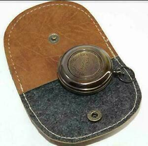 Brass Nautical London Pocket Push Button Antique Compass With Leather Case