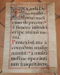 Blessed Virgin Mary Seven Sorrows Illuminated Manuscript 2 Side Parchment Roses