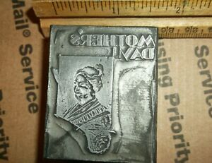 Vintage Solid Lead mother s Day Cut Foundry Type Letterpress Printing Block