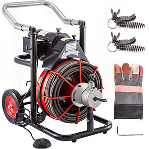 Sewer Machine Drain Cleaner 100 X 1 2 550w Sewer Cleaning Clog W Cutters