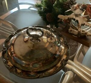 Vintage Wallace Silver Plate Covered Casserole With Pyrex Insert