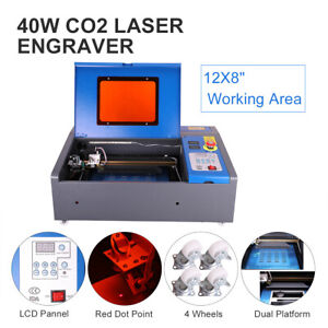 Co2 Laser Engraver Engraving Cutting 40w 8x12 Lcd Red Dot Pointer Wheel Diy