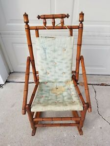 Vintage Antique Childs Wooden Rocking Chair Need New Fabric
