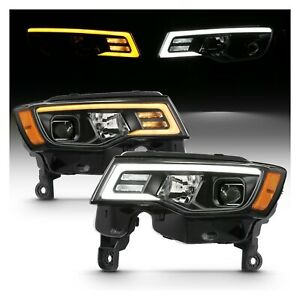 Anzo 111418 Black Projector Switchback Headlights For 17 18 Jeep Grand Cherokee