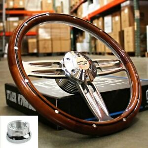 14 Polished Dark Wood Steering Wheel Bowtie Horn For 1974 94 Chevy Pickup Truck