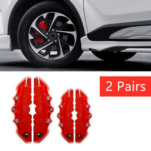 4x 3d Red Style Car Universal Disc Brake Caliper Covers Front Rear Kit Access