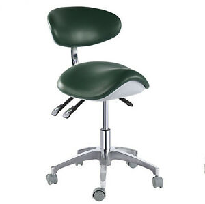 Dental Medical Saddle Chair Adjustable Mobile Chair Pu Leather Blackish Green Us