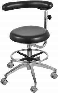 Dental Medical Chair Nurse s Chair Adjustable Mobile Chair Black Pu Leather Us