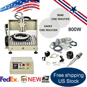 800w 3040 5axis Cnc Router Engraver Milling Drilling Machine Ball Screw Motor
