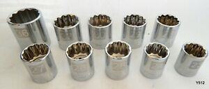 10 Chrome Craftsman 12 Point 1 2 Drive Metric Impact Sockets